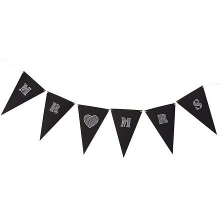 Bunting made from black Card Flags with white Text