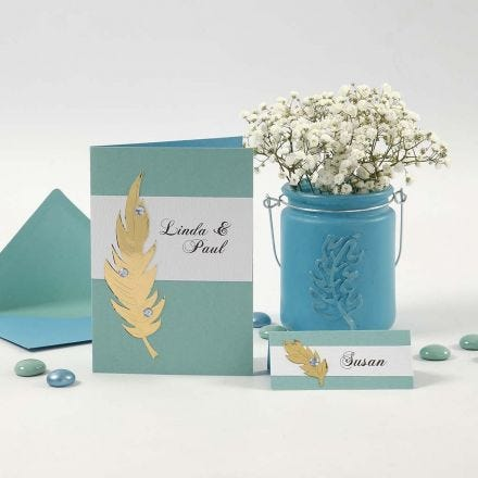 Invitations and Place Cards with Gold Feathers and Rhinestones