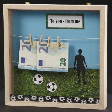 A Money Gift in the form of a deep 3D decorated Frame with Money hung on a String