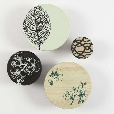 Painted wooden Hooks with Prints made with Screen Stencils