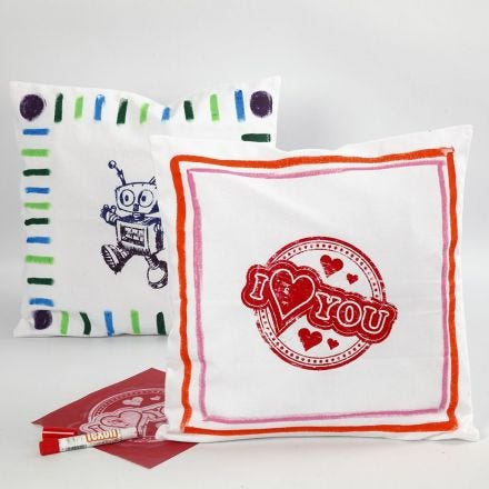 A Cushion Cover decorated with Paint Sticks for Fabric
