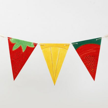 Bunting made from decorated Card Flags