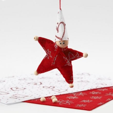 A star-shaped Pixie made from Felt with Glitter