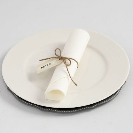 Manilla Tag Place Card with natural Twine and DYMO Tape