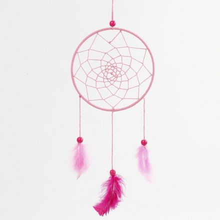 A Dream Catcher made from a Metal Ring wound with Cotton Yarn and decorated