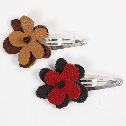 A Hair Clip with a Leather Flower