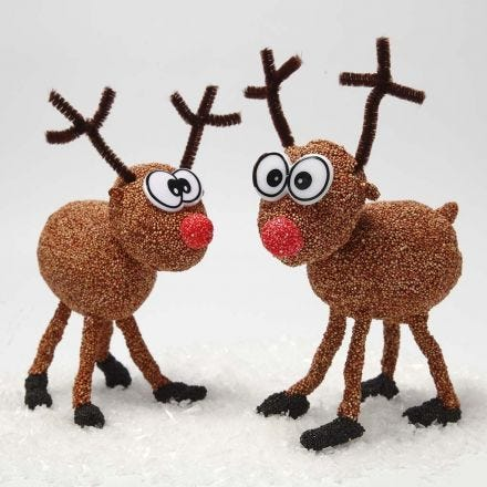 A Foam Clay Reindeer on a Polystyrene and Bonsai Wire Skeleton
