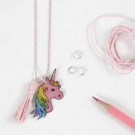 A Unicorn Necklace from Shrink Plastic with a pre-printed Design
