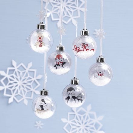 Christmas Baubles with a Drawing of Polar Animals inside for Decoration