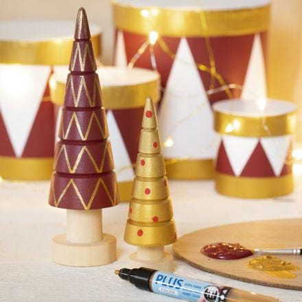Wooden Christmas Trees decorated with Craft Paint and Plus Color Markers