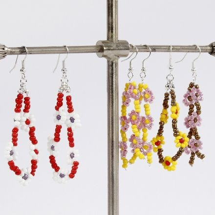 Earrings with Flowers from Rocaille Seed Beads