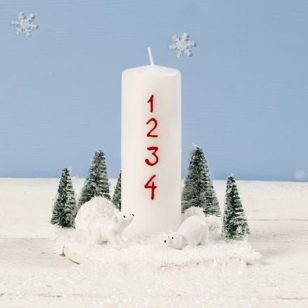 A Christmas Decoration with a Candle, miniature Polar Bears and Christmas Trees