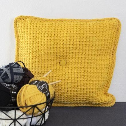 Tunisian crocheted Cushions from Fabric Yarn