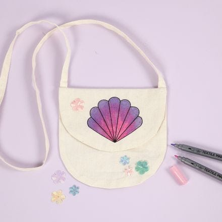 A Hand Bag with a Seashell Design decorated with Textile Markers