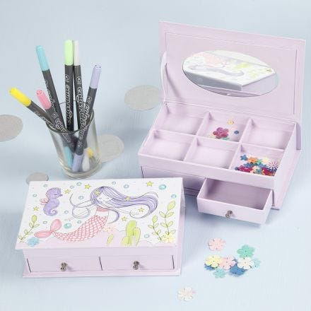 A Jewellery Box with a  Mermaid Design decorated with Markers and Sequins