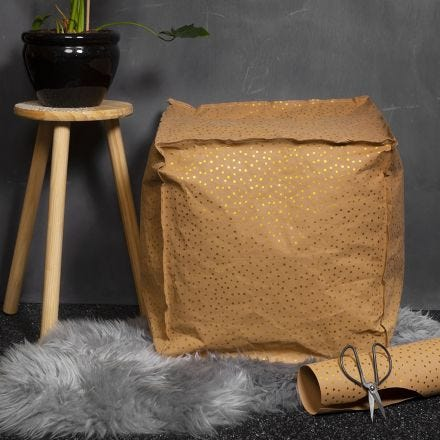 A Faux Leather Paper Pouffe filled with Polystyrene Pellets