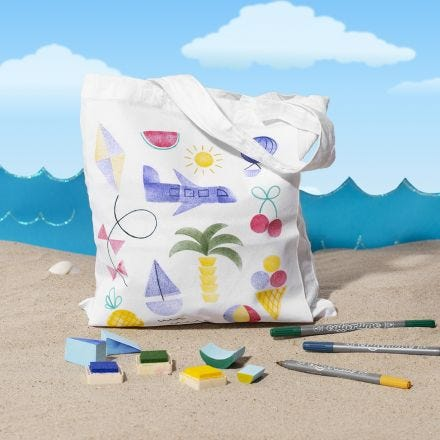 Shopping Bags with Summer stamped Designs