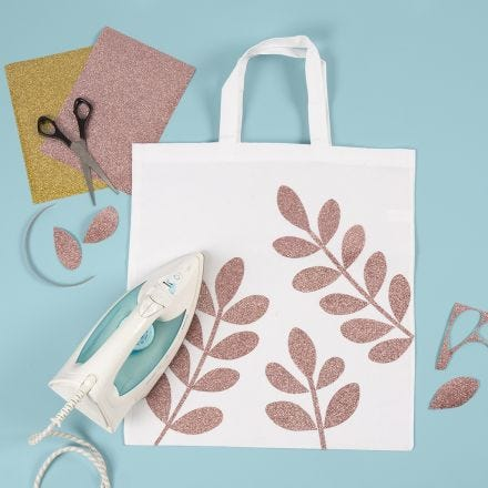 A Shopping Bag with iron-on Foil Leaves