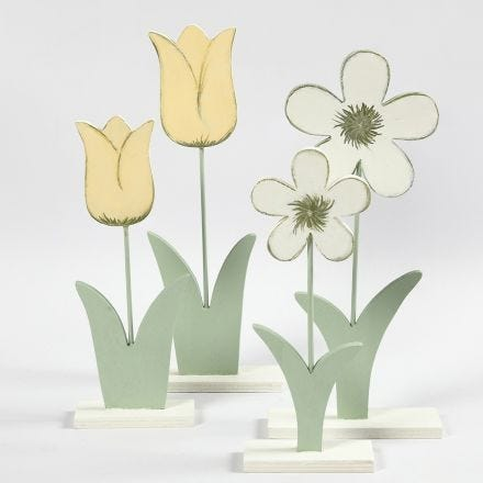 Wooden Flowers painted with Craft Paint