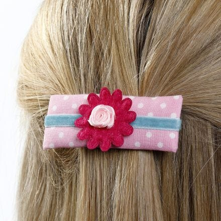 A Barrette made from Card decorated with Fabric, Ribbon and Fabric Flowers