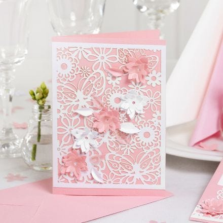An Invitation with Lace patterned Card and punched-out Flowers with a 3D Effect