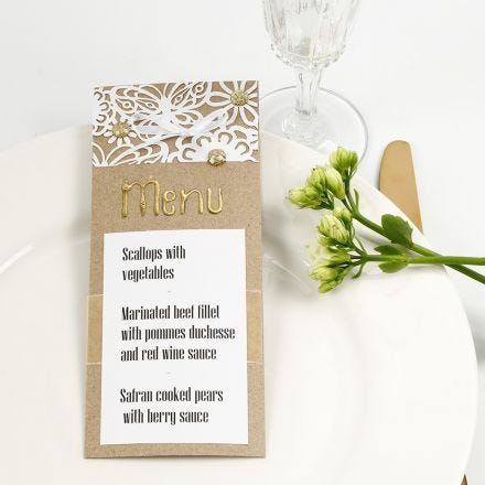 A Menu Card decorated with  Lace patterned Card, Deco Foil and Rhinestones