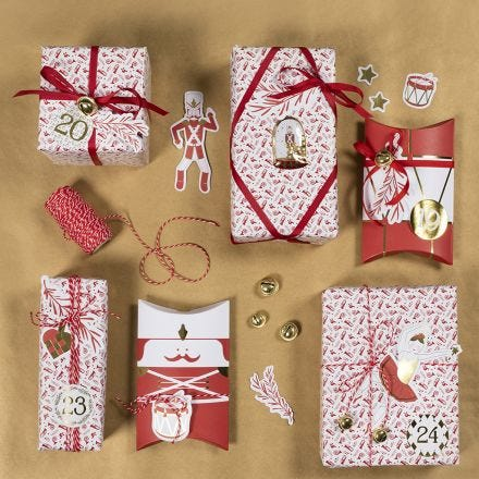 Christmas Gift Wrapping with Nutcracker Stickers and Design Card Cut-Outs