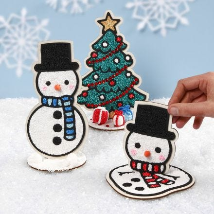 Decorative Wooden Snowmen and a Christmas Tree filled with Foam Clay