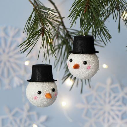 A Christmas Bauble decorated as a Snowman