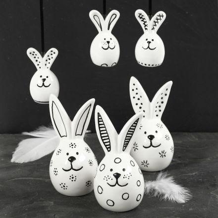Porcelain Rabbits decorated with black Glass & Porcelain Marker