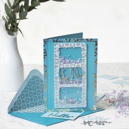 A shaker card made from handmade paper