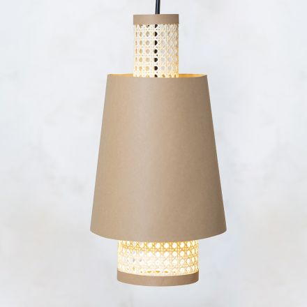 Make your own lamp shade from faux leather paper and rattan