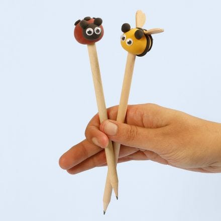 Silk Clay insects as pencil head decorations