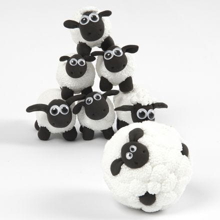 Shaun the Sheep mini bowling from Foam Clay and Silk Clay