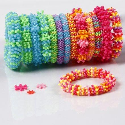 Rainbow bracelets from flat plastic beads