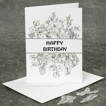 A birthday greeting card decorated with Washi stickers
