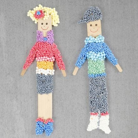 Figures made from ice lolly sticks and Foam Clay with a magnet