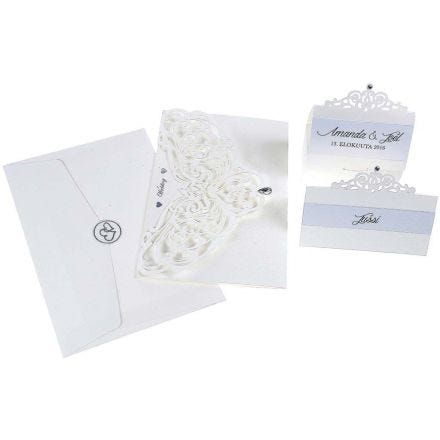 An Invitation, Place Card and  Table Decorations with a  pearlescent Effect and Filligree