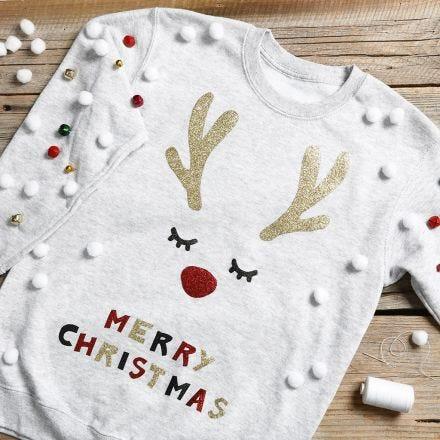 An amusing Christmas jumper with jingle bells