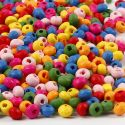 Wooden Beads Mix, D: 4 mm, hole size 1-1,5 mm, 300 g/ 1 bag