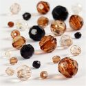 Faceted Bead Mix, size 4-12 mm, hole size 1-2,5 mm, golden, 50 g/ 1 pack