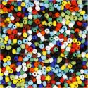 Rocaille Seed Beads, D: 4 mm, size 6/0 , hole size 0,9-1,2 mm, assorted colours, 500 g/ 1 pack