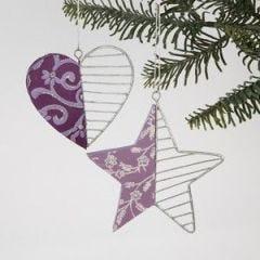 Wooden hearts & stars ornaments