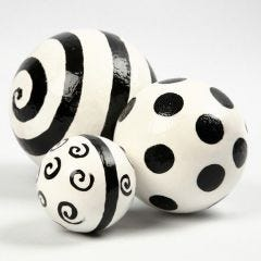 Varnished Plaster Spheres with a Graphic Design