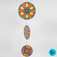 A Mobile made from round Card Discs with coloured Mandala Pattern