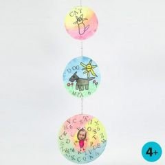 Mobile from round Card Discs with Watercolour, Prints & Drawings