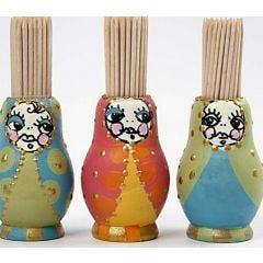 A Babushka shaped holder for toothpicks
