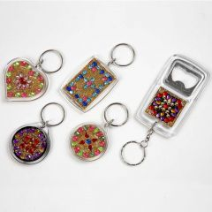 Key Rings and Bottle Openers with Rhinestones