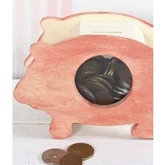 A Stained Wooden Piggy Bank