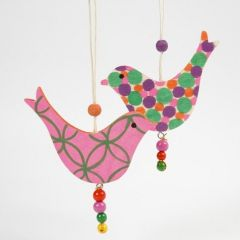 Wooden Birds decorated with Poster Hobby Markers